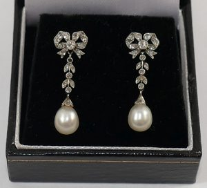A pair of early 20th century diamond and pearl drop earrings SOLD - £1,450