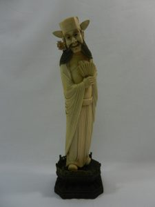 An early 20th century Chinese carved ivory figure of a flower god, possibly Chung Kuei, 24.5cm high Est £250-£350 From a Private Collection of Ivories