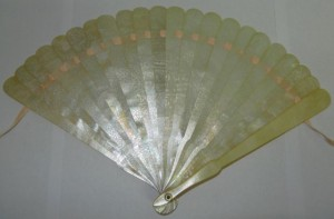 A 19th century Chinese mother of pearl fan, SOLD £1,150.00