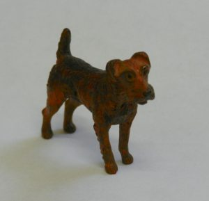 A cold painted bronze figure of a fox terrier - Est £80 - £120