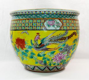 Lot 53 - Chinese porcelain famille rose goldfish bowl with hardwood stand Est £200 - £250