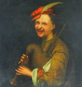 Circle of Jan Tilius (1660-1719), oil on canvas, laughing bagpipe player SOLD - £1,500.00