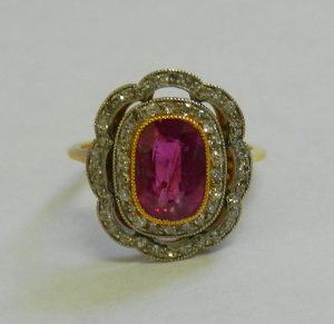 Art Deco style ruby and diamond dress ring - Est £1,000 - £1,500
