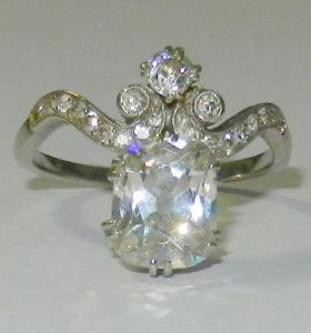 Early 20th century diamond and platinum ring, the diamond approx. 1.9 carats - SOLD £9,000